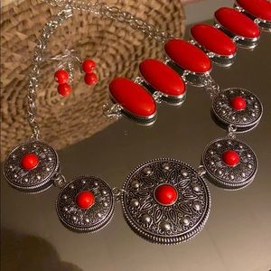 Jewelry - Red Medallion Statement Bundle